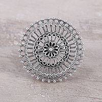 Sterling silver cocktail ring, 'Floral Mandala' - Indian Style Sterling Silver Cocktail Ring