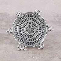 Sterling silver cocktail ring, 'Rawa Mandala' - Unusual Indian Cocktail Ring in Sterling Silver