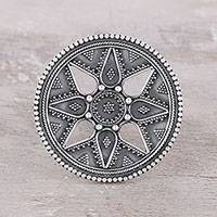Sterling silver cocktail ring, 'Petal Mandala' - Sterling Silver Cocktail Ring with Large Crown