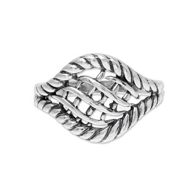 Woven Motif Sterling Silver Cocktail Ring from India