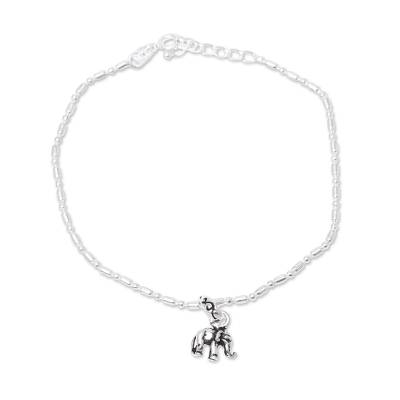 Sterling silver chain bracelet, 'Delightful Elephant' - Sterling Silver Elephant Charm Bracelet from India