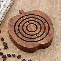 Wood maze game, 'Apple Connection' - Fine Carved Mango Wood Apple Maze Game from India