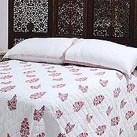 Cotton quilt and pillow shams, 'Mughal Cheer' (3 piece) - Printed Cotton Quilt and Pillow Shams (King) (3 Piece)