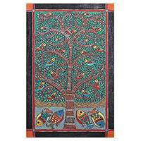 Madhubani painting, 'Tree of Life' - Nature-Themed Madhubani Painting from India