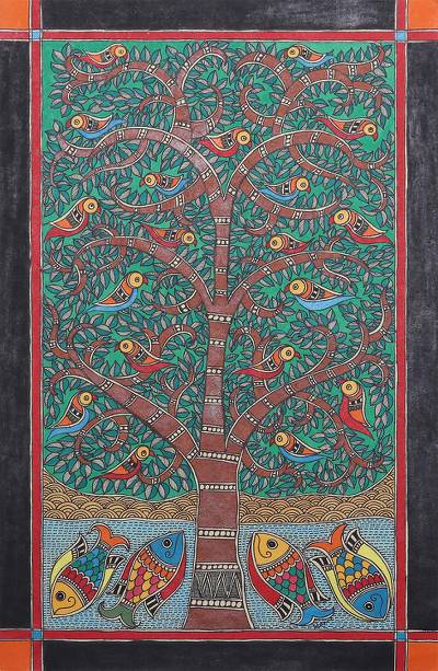 Nature-Themed Madhubani Painting from India