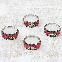 Brass and resin tealight holders, 'Floral Glow in Red' (set of 4) - Floral Brass and Resin Tealight Holders in Red (Set of 4)