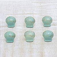 Ceramic knobs, 'Seashell Charm' (set of 6) - Aqua Shell Shaped Ceramic Cabinet Pulls (Set of 6)
