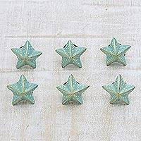 Ceramic knobs, 'Starfish Glory' (set of 6) - Aqua and Gold Starfish Motif Ceramic Knobs (Set of 6)