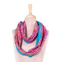 Silk infinity scarf, 'Feminine Festivity' - Handwoven Floral Silk Infinity Scarf in Magenta from India