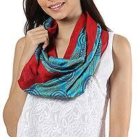 Silk infinity scarf, 'Creative Bliss in Turquoise' - Handwoven Silk Infinity Scarf in Turquoise and Chili