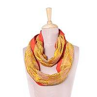 Silk infinity scarf, 'Creative Bliss in Gold' - Handwoven Silk Infinity Scarf in Gold and Paprika from India