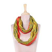 Silk infinity scarf, 'Cheery Fantasy' - Handwoven Silk Infinity Scarf in Chartreuse and Paprika