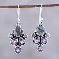 Amethyst and labradorite dangle earrings, 'Delightful Dazzle' - Amethyst and Labradorite Dangle Earrings from India