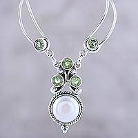 Cultured pearl and peridot pendant necklace, 'Radiant Princess' - Cultured Pearl and Peridot Pendant Necklace from India