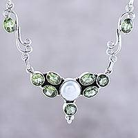 Peridot and cultured pearl pendant necklace, 'Green Grove' - Peridot and Cultured Pearl Pendant Necklace from India
