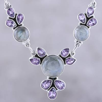 Amethyst and labradorite pendant necklace, 'Aurora Blossom' - Amethyst and Labradorite Pendant Necklace from India