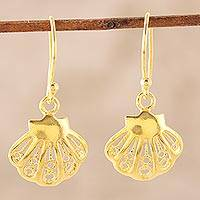 Gold plated sterling silver dangle earrings, 'Bright Shells' - Seashell 22k Gold Plated Sterling Silver Dangle Earrings