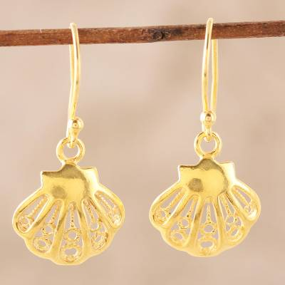 Gold plated sterling silver dangle earrings, Bright Shells