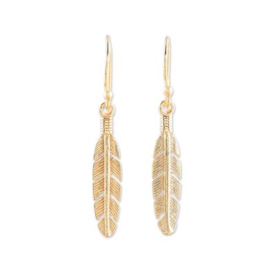 Gold plated sterling silver dangle earrings, 'Light Touch' - 22k Gold Plated Sterling Silver Feather Dangle Earrings