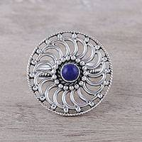 Lapis lazuli cocktail ring, 'Whirlwind' - Spiral Pattern Lapis Lazuli Cocktail Ring from India
