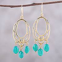 Gold plated onyx chandelier earrings, 'Green Romance' - 22k Gold Plated Onyx Chandelier Earrings from India