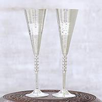 Silver plated champagne flutes, 'Celebrations' (pair) - Pair of Hand Crafted Nickel Plated Brass Champagne Glasses