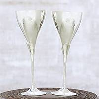 Silver plated goblets, 'Simple Glamour' (pair) - Modern Silver Plated Goblets from India (Pair)