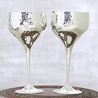 Silver plated goblets, 'Textured Elegance' (pair) - Textured Silver Plated Goblets Crafted in India (Pair)