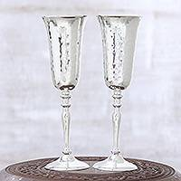 Silver plated goblets, 'Glossy Shimmer' (pair) - Artisan Crafted Silver Plated Goblets from India (Pair)