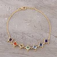 Gold plated multi-gemstone link bracelet, 'Wellness' - 22k Gold Plated Multi-Gemstone Chakra Link Bracelet