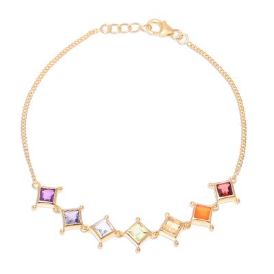 Gold plated multi-gemstone link bracelet, 'Wellness' - 22k Gold Plated Multi-Gemstone Chakra Link Bracelet