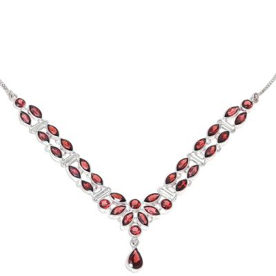 Garnet pendant necklace, 'Evening in Delhi' - 17-Carat Garnet Pendant Necklace from India