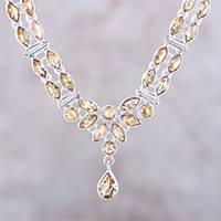 Citrine pendant necklace, 'Evening in Delhi' - 17-Carat Citrine Pendant Necklace from India