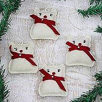 Featured review for Wool felt ornaments, Snow Kittens (set of 4)