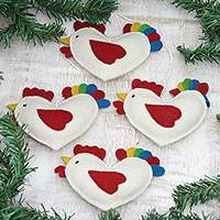 Wool felt ornaments, 'Festive Greetings' (set of 4) - Set of 4 White/Multicolor Chicken Ornaments