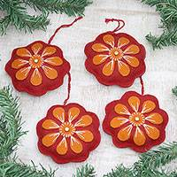 Wool felt ornaments, 'Floral Burst' (set of 4) - Red and Orange Wool Felt Flower Ornaments (Set of 4)