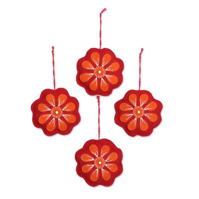 Wool felt ornaments, 'Floral Burst' (set of 4) - Red and Orange Wool Felt Flower Ornaments (Set of 4)