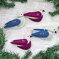 Wool felt ornaments, 'Nature's Harmony' (set of 4) - Assorted Colorful Wool Felt Bird Ornaments (Set of 4)