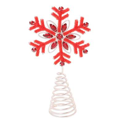 Beaded tree topper, 'Dazzling Snowflake' - Beaded Red Snowflake Motif Tree Topper