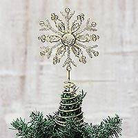 Beaded tree topper, 'Shimmering Snowflake' - Faux Gemstone Covered Snowflake Tree Topper