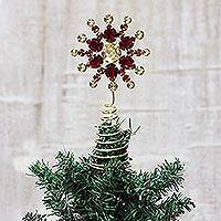Beaded tree topper, 'Glittering Radiance'