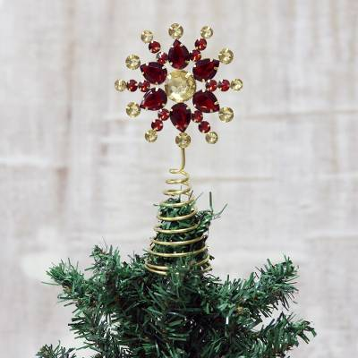 Red And Gold Faux Gemstone Christmas Flower Tree Topper Glittering Radiance