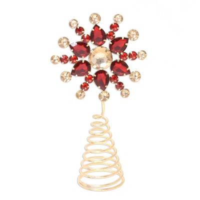 Beaded tree topper, 'Glittering Radiance' - Red and Gold Faux Gemstone Christmas Flower Tree Topper