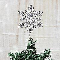 Beaded tree topper, 'Sparkling Snowflake'