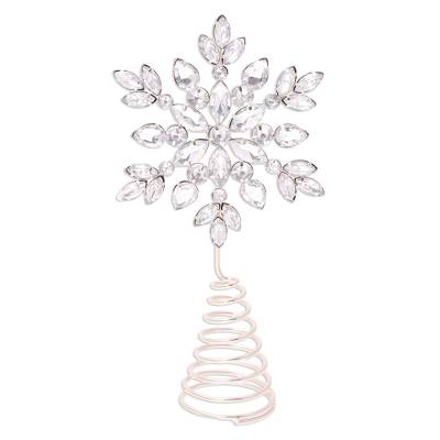 Beaded tree topper, 'Sparkling Snowflake' - Silver Toned Sparkling Snowflake Tree Topper