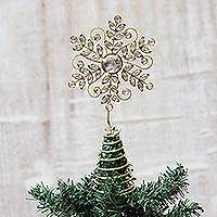Beaded tree topper, 'Golden Snowflake'