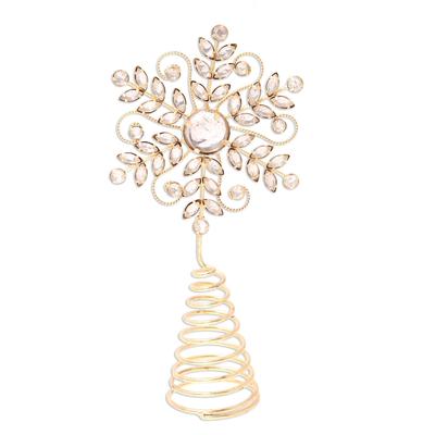 Beaded tree topper, 'Golden Snowflake' - Golden Snowflake Beaded Tree Topper from India