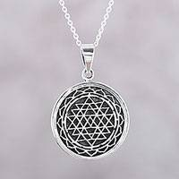 Sterling silver pendant necklace, 'Shri Yantra Mantra' - Intersecting Triangles Sterling Silver Pendant Necklace