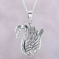 Sterling silver pendant necklace, 'Floating Swan' - Graceful Swan Sterling Silver Pendant Necklace from India