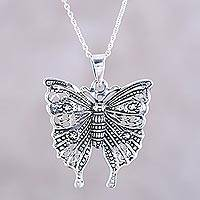 Sterling silver pendant necklace, 'Dazzling Butterfly' - Butterfly Sterling Silver Pendant Necklace from India